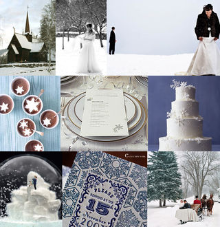 A pretty and snowy winter wedding inspiration board.