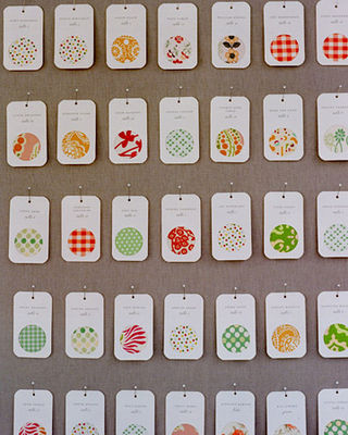 Martha Stewart Weddings fabric dot place cards