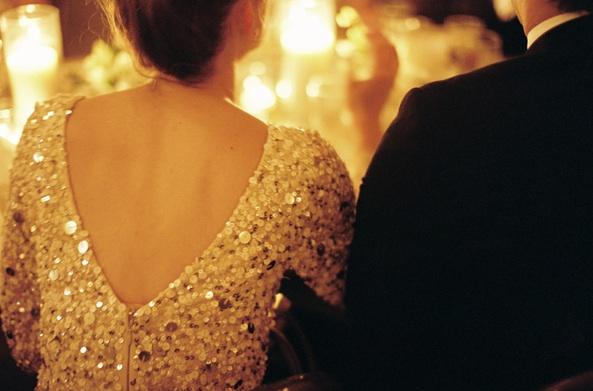 New-orleans-black-tie-wedding-reception-bridesmaid-dress-gold-sparkly