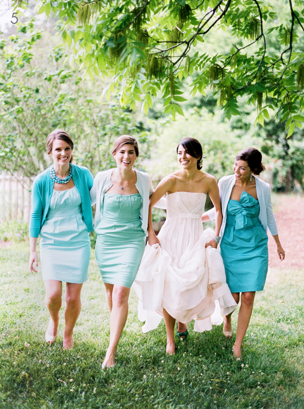 Southern-weddings-teal-bridesmaid-dresses