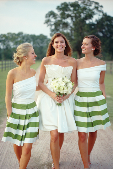 Southern-Weddings-Green-White-Striped-Bridesmaid-Skirts