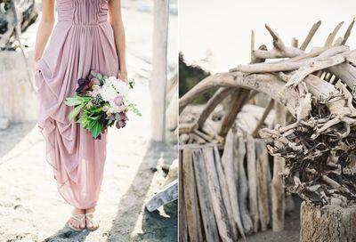 Peaceful-seaside-wedding-inspiration-purple-bridesmaid-dress-bouquet-driftwood1