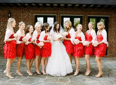 Southern-weddings-red-bridesmaid-dresses1
