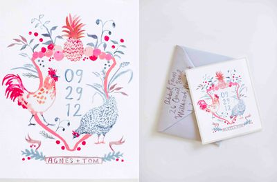 Happy-menocal-watercolor-invitation-crest-chickens-pineapple-fruit-pink-grey-gray-farm-wedding