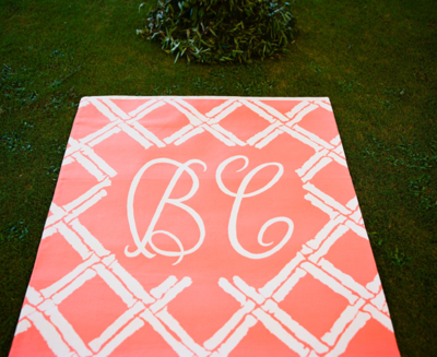 Southern-weddings-monogrammed-aisle-runner